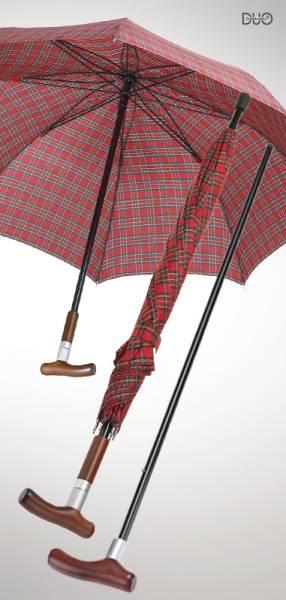 Stockschirm Safebrella DUO, Rot kariert, kleine Ausführung Ø 105 cm