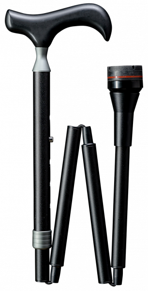 Physio Faltstock aus Leichtmetall, mit Dämpfer, höhenverstellbar, Derbygriff