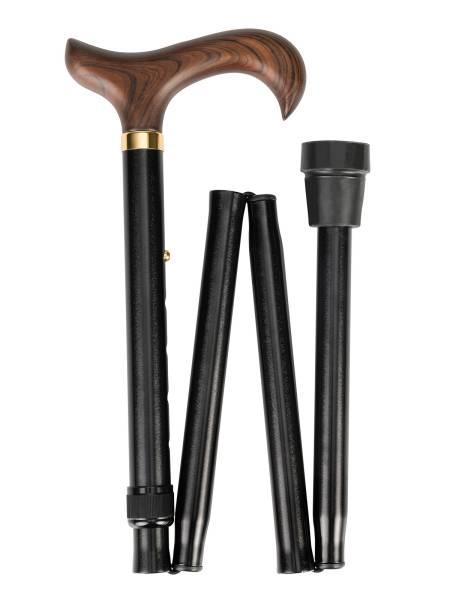 Faltbarer Leichtmetallstock mit Holz-Derbygriff