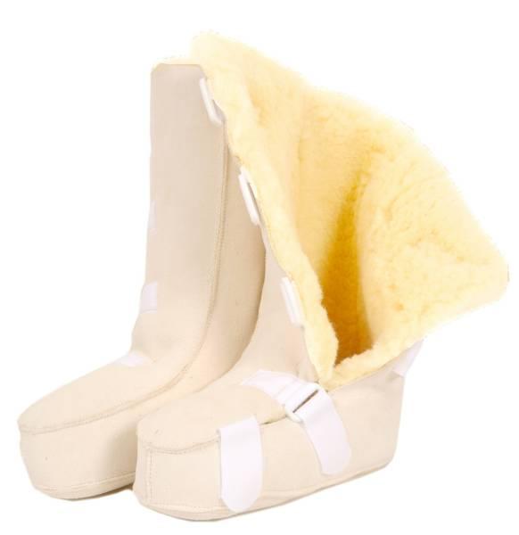 Fellstiefel aus Schaffell-Medizinfell mit Klettverschluss, Dekubitus-Schutz-Schuh