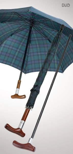 Stockschirm Safebrella DUO, grün-blau kariert, große Ausführung Ø 110 cm