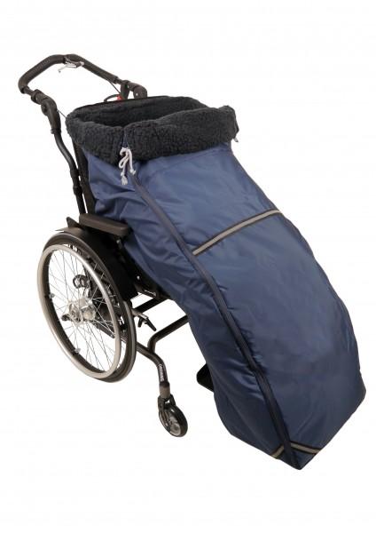 Rollstuhl-Schlupfsack XXL mit wind- und wasserabweisendem Außenstoff in Marine, Innenfutter Wollpelz