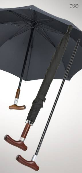 Stockschirm Safebrella DUO, Schwarz, große Ausführung Ø 110 cm