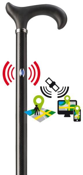 Gehstock mit GPS und Alarmfunktion in Carbonoptik