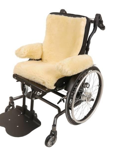 Rollstuhl-Auflage aus Lammfell, unterschiedliche Größen und Farben, mit und ohne Armlehnschoner
