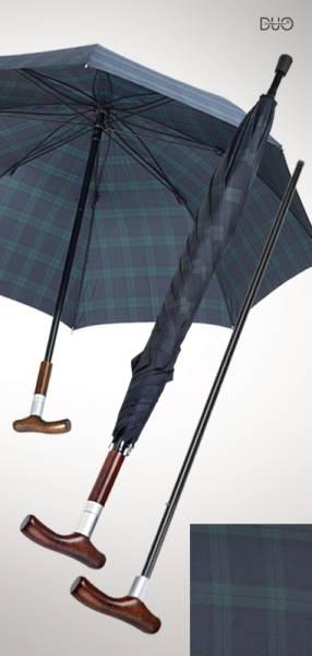 Stockschirm Safebrella DUO, blau-grün kariert, kleine Ausführung Ø 105 cm