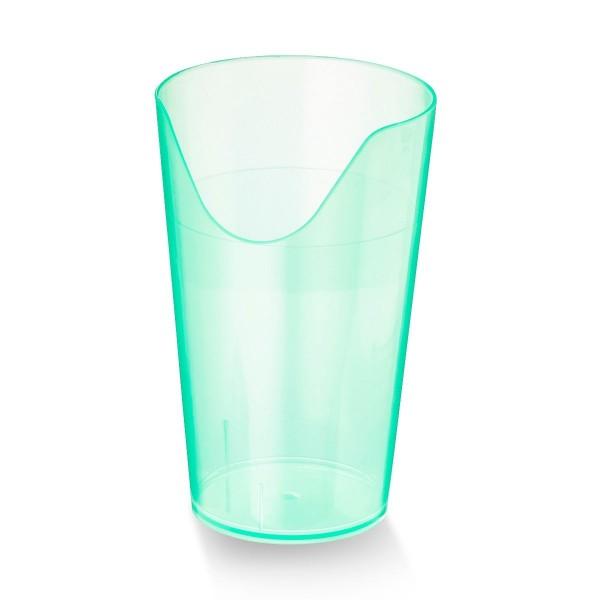 Trinkbecher mit Nasenausschnitt, geeignet für Probleme im Nackenbereich, Grün transparent