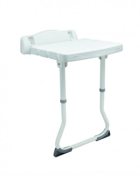 Duschklappsitz DELUXE mit Stützbeinen, Befestigungshöhe variabel, bis 110 kg belastbar