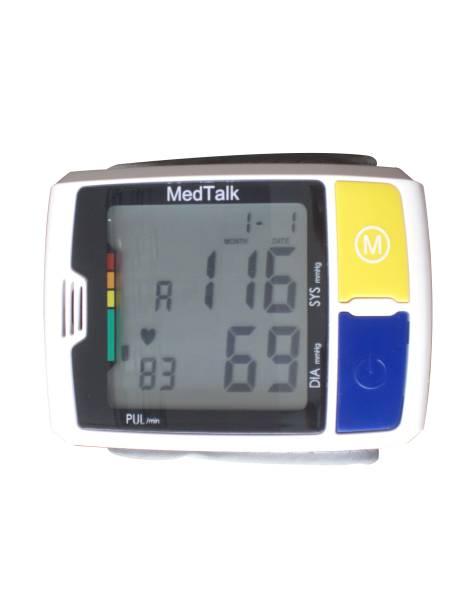 Blutdruck-Messgerät für das Handgelenk, mit Sprachausgabe und taktilen Tasten