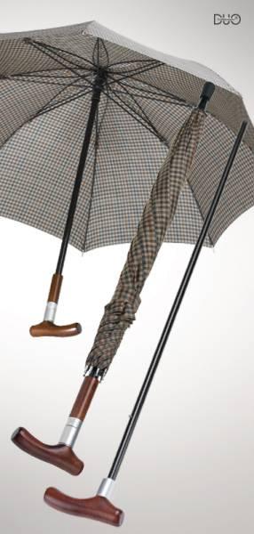 Stockschirm Safebrella DUO, braun-beige kariert, große Ausführung Ø 110 cm