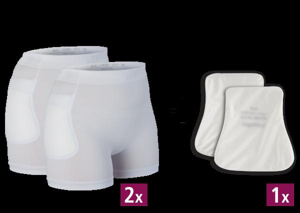 2 x Hüftschutz-Slip 1490 und 1 x Protektoren 2008, maschinenwaschbar, weiß, für Sie und Ihn